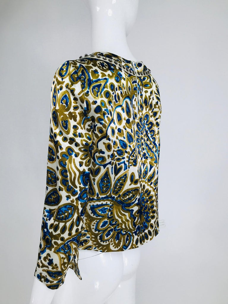 Chloe' Gold & Blue Rhinestone Jewel Neckline Blouse  For Sale 2