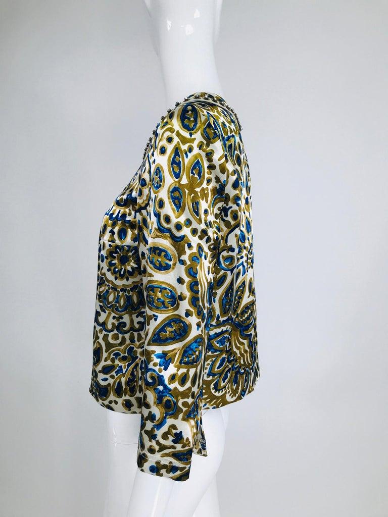 Chloe' Gold & Blue Rhinestone Jewel Neckline Blouse  For Sale 3