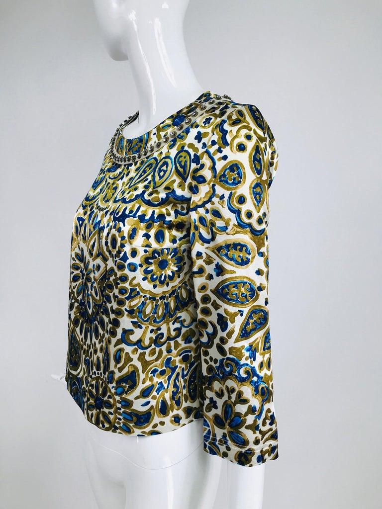 Chloe' Gold & Blue Rhinestone Jewel Neckline Blouse  For Sale 4