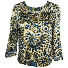Chloe' Gold & Blue Rhinestone Jewel Neckline Blouse