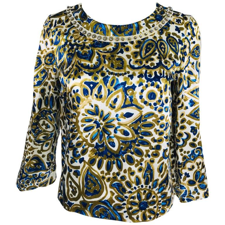 Chloe' Gold & Blue Rhinestone Jewel Neckline Blouse  For Sale