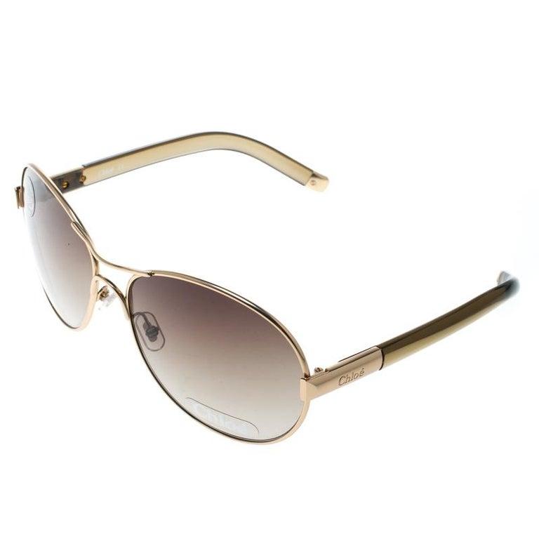 1ca918c413 Chloe Gold Brown Gradient CL2207 Aviator Sunglasses In Good Condition For  Sale In Dubai