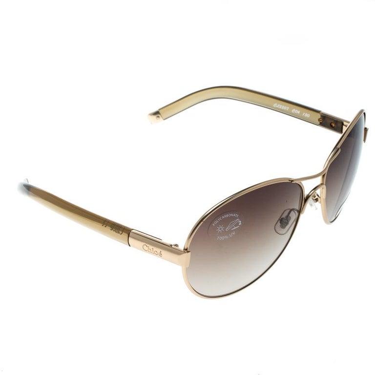 da07173444 Chloe Gold Brown Gradient CL2207 Aviator Sunglasses For Sale at 1stdibs