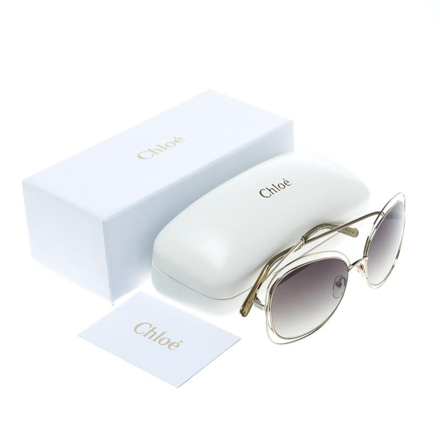 0cc6528c3d53 Chloe Gold/Green Gradient CE119S Round Oversized Sunglasses For Sale at  1stdibs