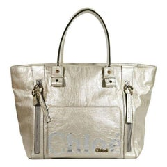 Chloe Gold Leather Logo Tote Bag