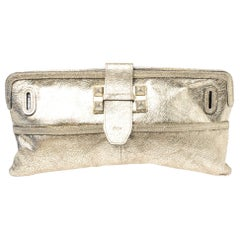 Chloe Gold Metallic Textured Leather Clutch