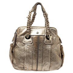 Chloe Gold Textured Leather Heloise Satchel