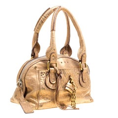Chloe Gold Textured Leather Paddington Satchel