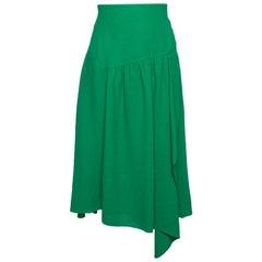 Chloé Grass Green Crepe Asymmetric Draped Midi Skirt M