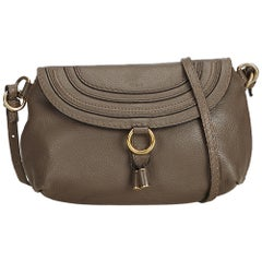 Chloe Gray Leather Marcie Crossbody Bag