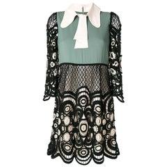 CHLOE green black COLOR BLOCK Lace 3/4 Sleeve Mini Dress 34 XXS