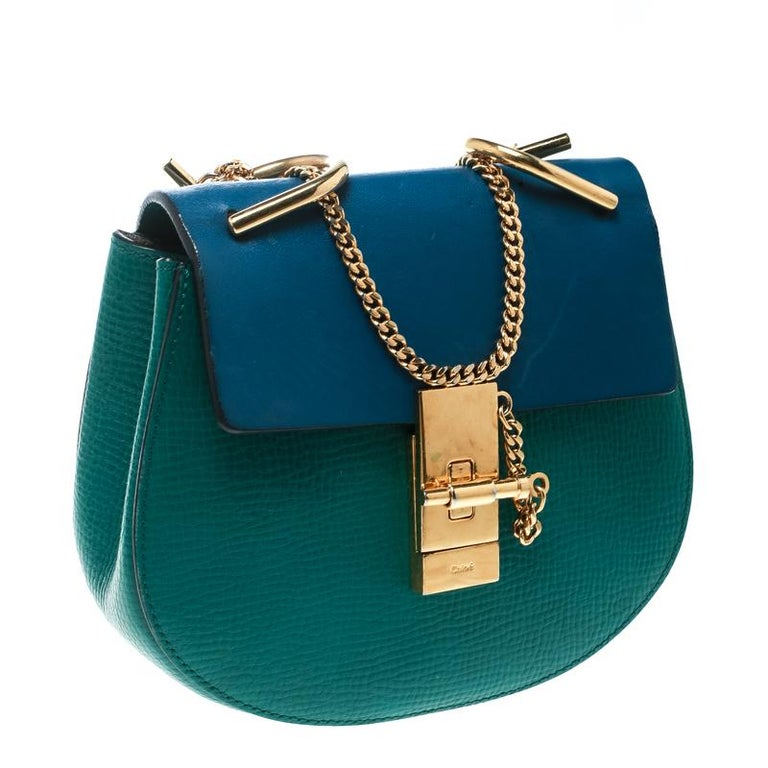 cf2148d9 Chloe Green/Blue Leather Small Drew Shoulder Bag