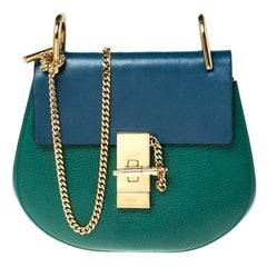 Chloe Green/Blue Leather Small Drew Shoulder Bag