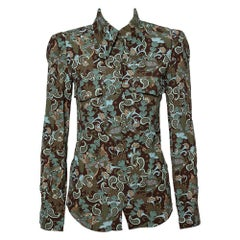 Chloe Green & Brown Crepe Printed Button Front Retro Shirt S