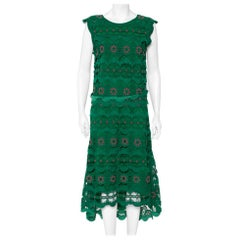 Chloé Green Guipure Lace Asymmetric Hem Midi Dress M