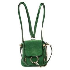 Chloe Green Leather and Suede Mini Faye Daye Backpack