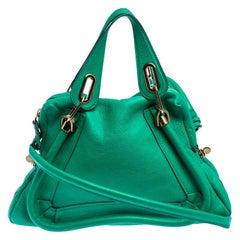 Chloe Green Leather Medium Paraty Shoulder Bag