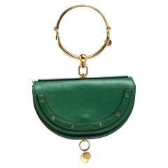 Chloe Green Leather Small Nile Bracelet Minaudiere Crossbody Bag