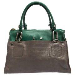 Chloe Grey/Green Croc Embossed Leather Buckle Handle Satchel