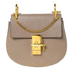 Chloe Grey Leather Mini Drew Shoulder Bag