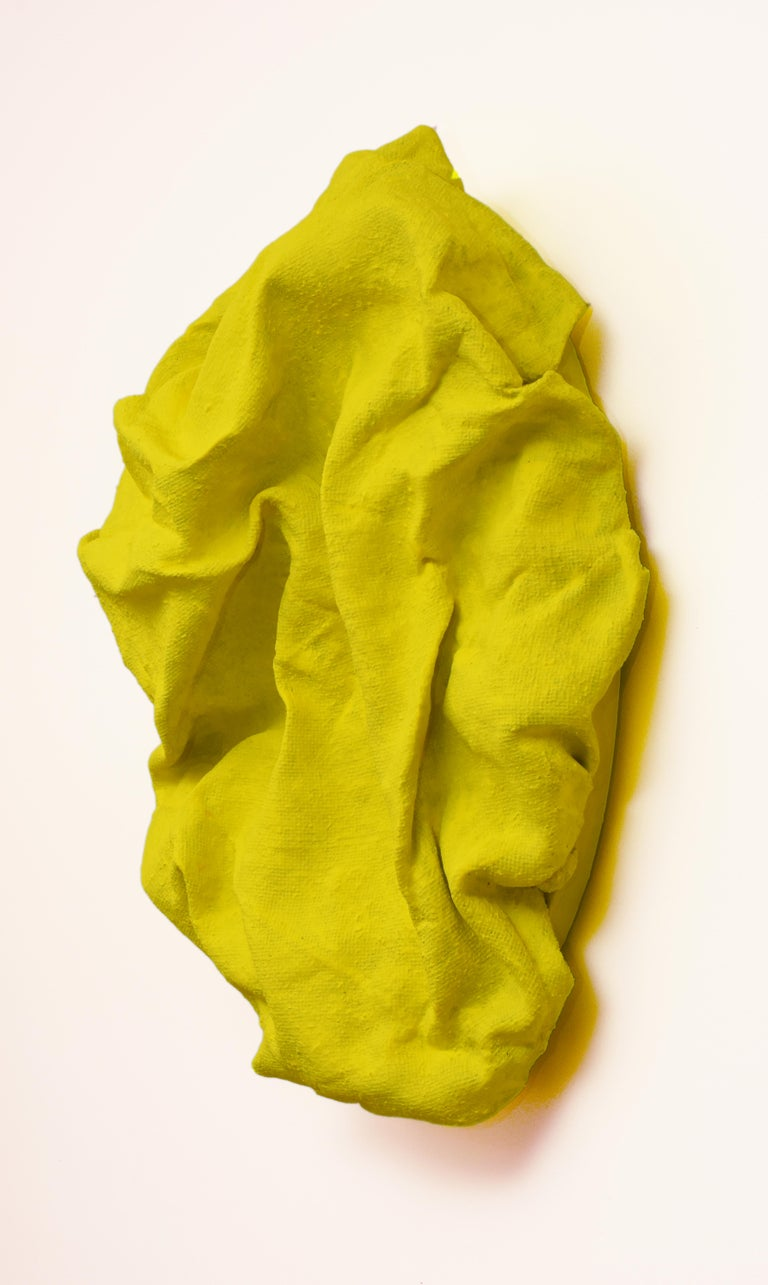 Electric Yellow Folds (fabric, contemporary art design, abstract wall sculpture) - Abstract Mixed Media Art by Chloe Hedden