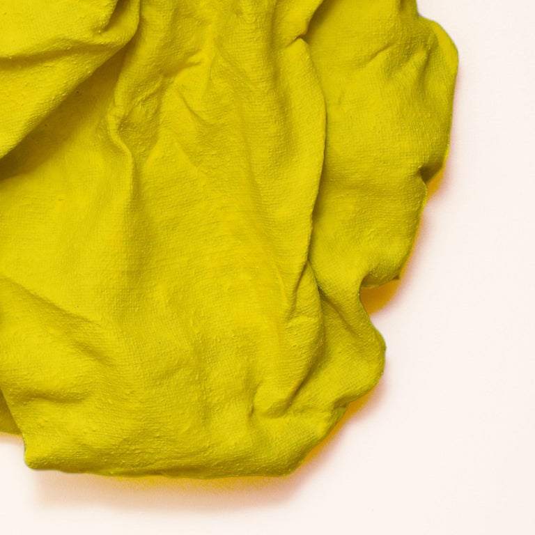 Electric Yellow Folds (fabric, contemporary art design, abstract wall sculpture) For Sale 1