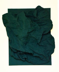 Emerald Green Folds (hardened fabric, wall green art, contemporary art design)