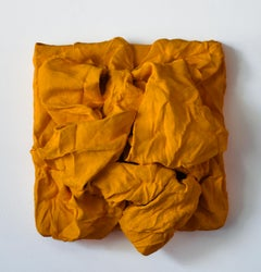Golden Yellow Folds (hardened fabric, contemporary art design, wall sculpture)