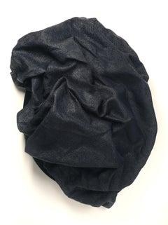 Indigo Folds 2 (fabric art, wall sculpture, dark art, contemporary, textile arts