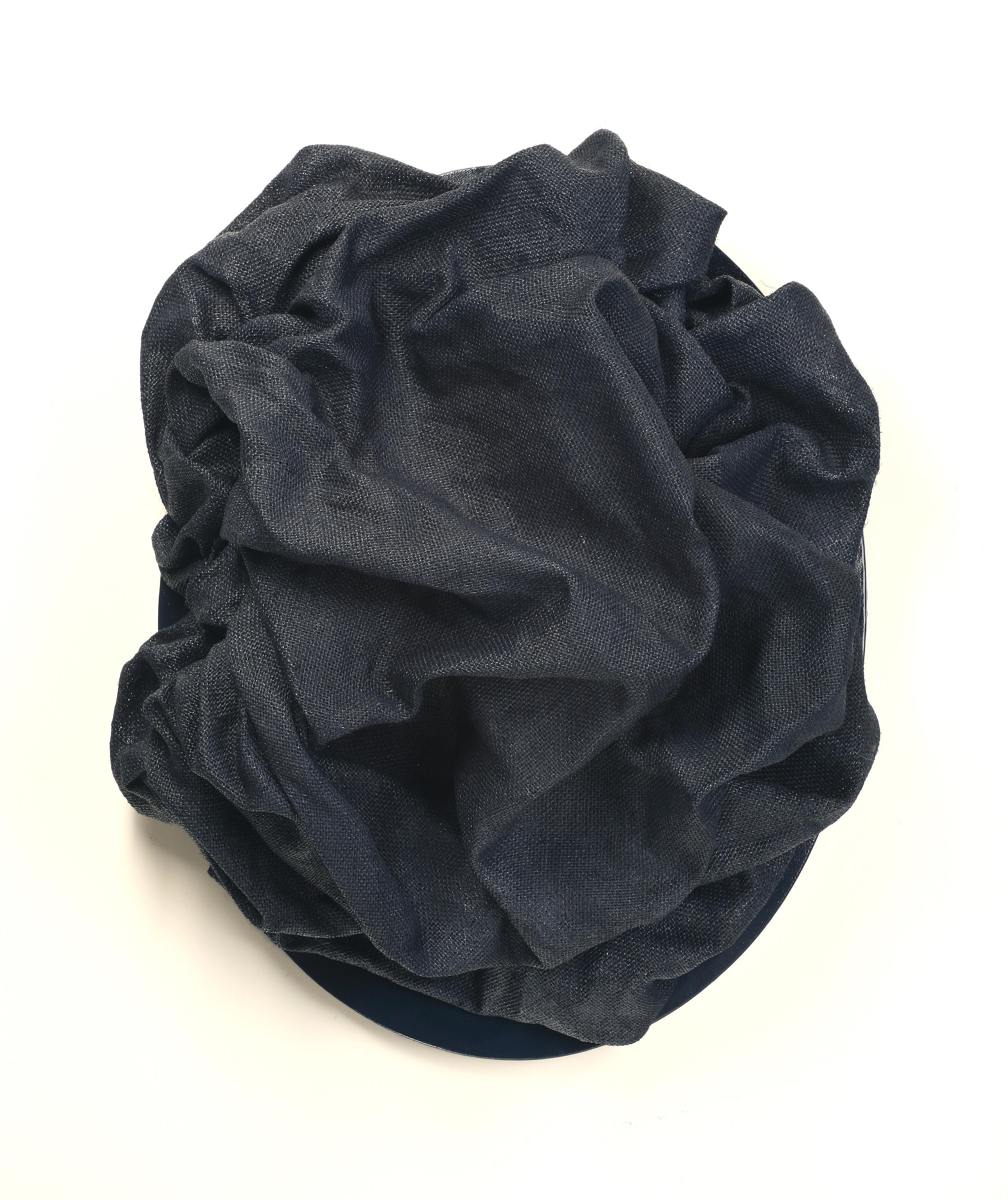 Indigo Folds 3 (fabric art, wall sculpture, contemporary design, textile arts)