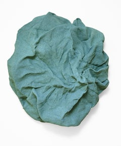 Jade Green Folds (fabric, wall sculpture, contemporary design, textile art)