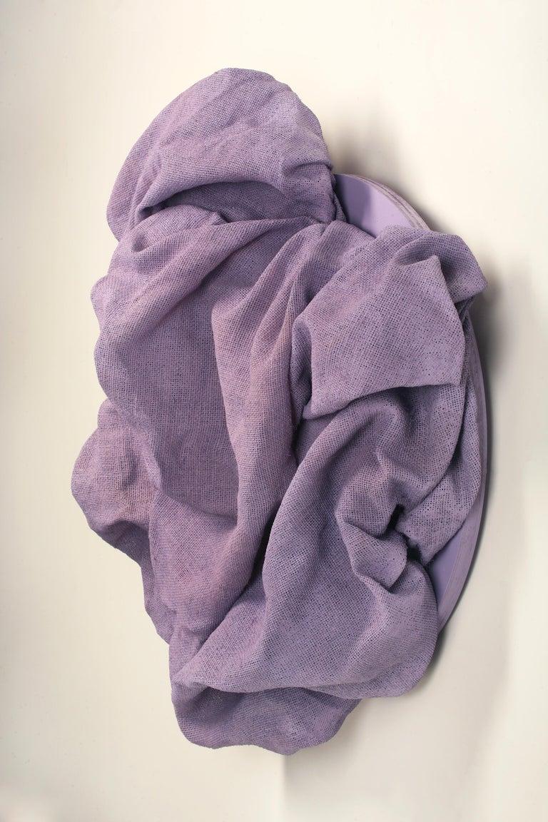 Lavender Folds 2 (fabric art, wall sculpture, contemporary design, textile art) - Contemporary Sculpture by Chloe Hedden