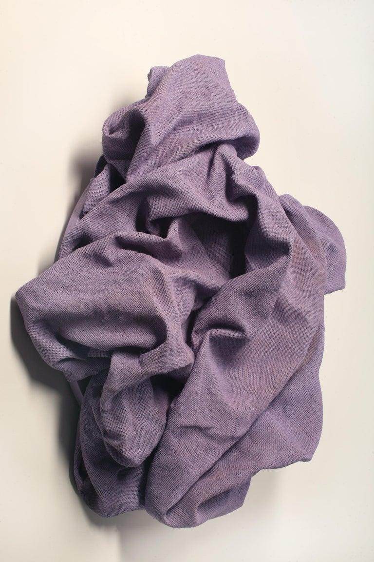 Lavender Folds 2 (fabric art, wall sculpture, contemporary design, textile art) - Gray Abstract Sculpture by Chloe Hedden