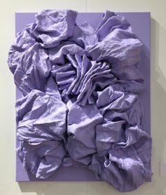 Lavender Folds (hardened fabric, lilac art, contemporary design, wall sculpture)