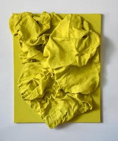 Lemon Yellow Folds (wall sculpture, hard fabric, textile sculpture, wall mount)