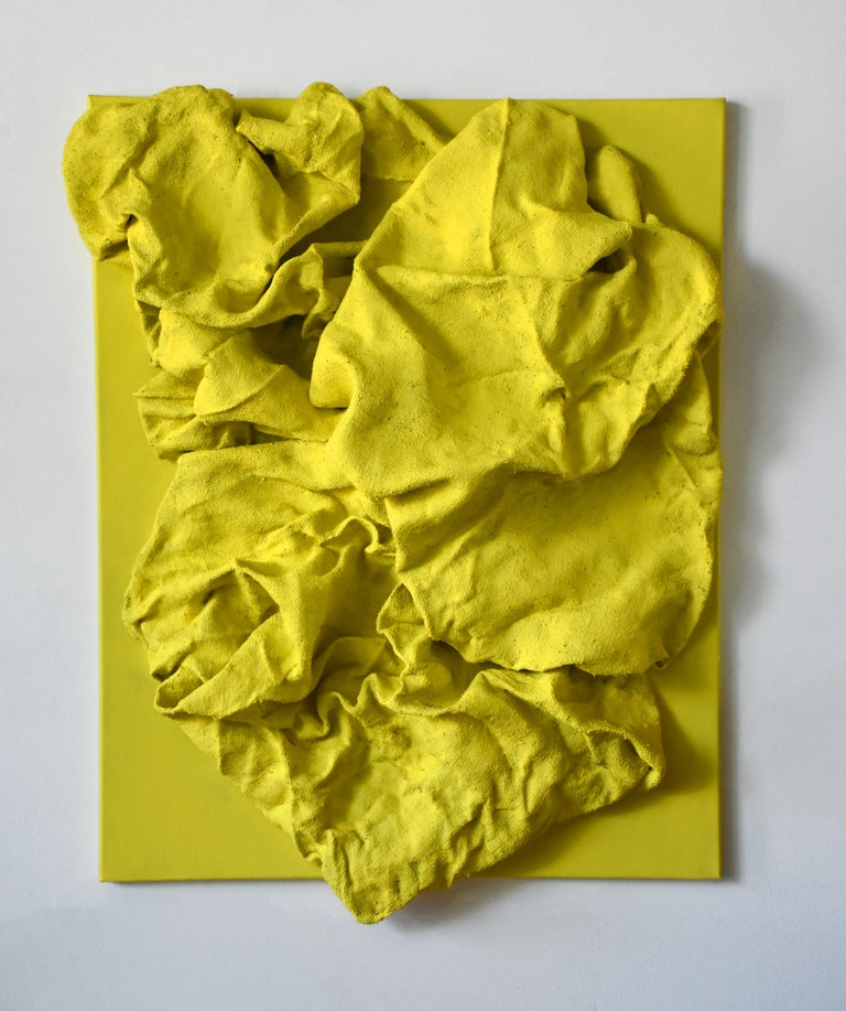 """Lemon Yellow Folds"" is a bright lemon yellow wall sculpture made with fabric on linen. The elegant folds are steadily built up and add intricacy to the structure. This creates a dynamic artwork where light circulates on the surface and shadows are"
