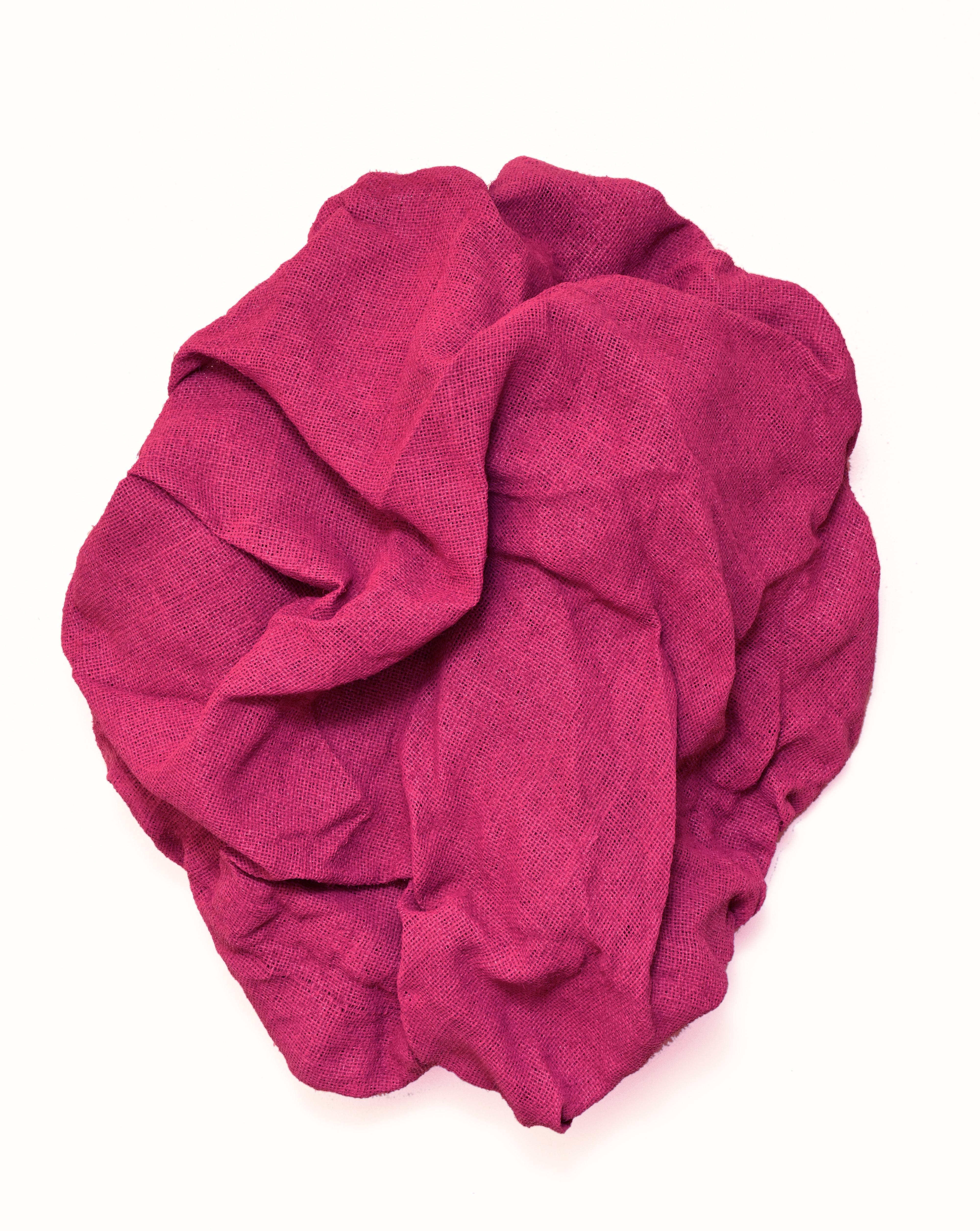 Mambo Pink Folds (fabric, contemporary art design, textile wall sculpture)