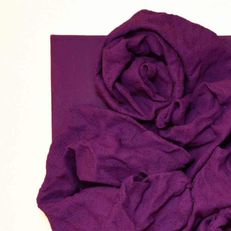 Violet Folds (hardened fabric, purple art, contemporary design, wall sculpture) - Sculpture by Chloe Hedden
