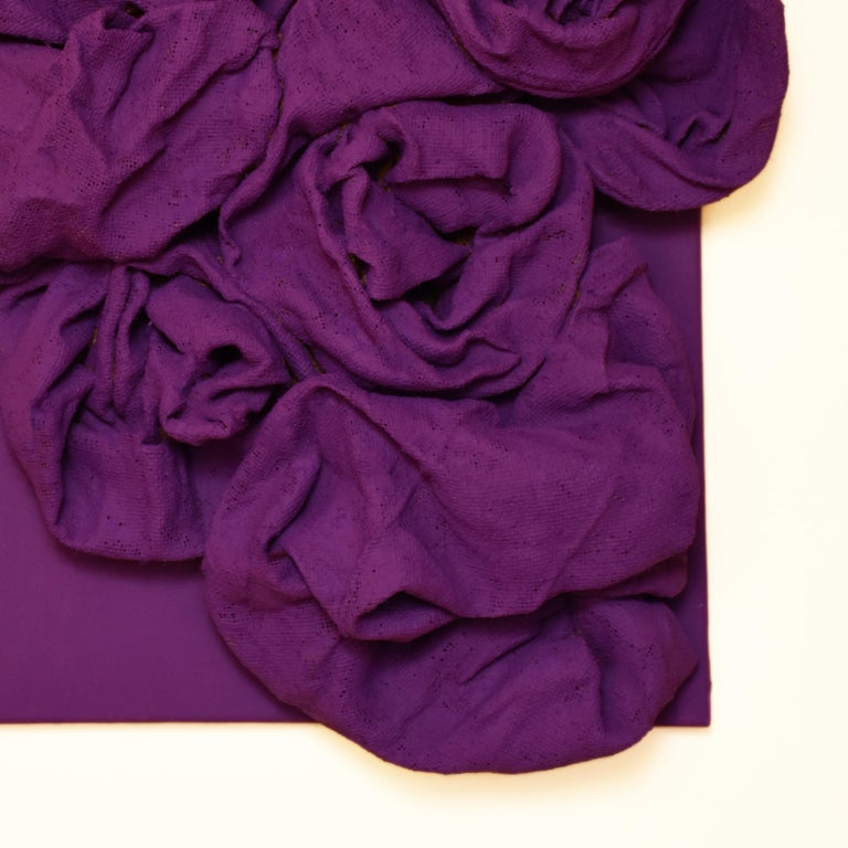 Violet Folds (hardened fabric, purple art, contemporary design, wall sculpture) - Abstract Sculpture by Chloe Hedden
