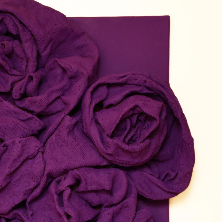 Violet Folds (hardened fabric, purple art, contemporary design, wall sculpture) - Purple Abstract Sculpture by Chloe Hedden