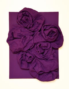 Violet Folds (hardened fabric, purple art, contemporary design, wall sculpture)