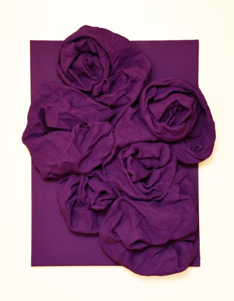 Chloe Hedden Abstract Sculpture - Violet Folds (hardened fabric, purple art, contemporary design, wall sculpture)