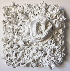 White Rosettes 3 (flowers sculpture, roses, wall sculpture, hard fabric, textile