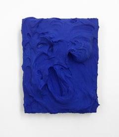 American Blue  (impasto texture thick painting monochrome pop bold design)