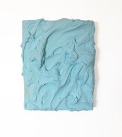 Aqua Blue Excess (impasto texture thick small painting salon hanging bold pop
