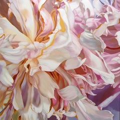 Becky's Peony 4 (floral painting, realist, pastels, flower, oil painting, canvas