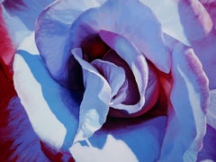 BLUE ROSE II (floral painting, realist, blue rose, flower, oil painting, canvas)