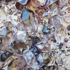 Brazilian Smoky Citrine Cluster (crystals realist minerals oil painting canvas)