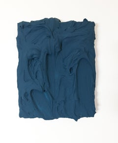 Deep Teal Excess (impasto texture thick painting monochrome pop bold design)