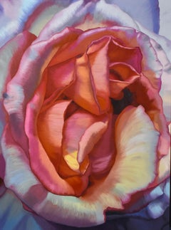 Desert Rose (floral pink rose painting realist flower oil painting canvas lilac)